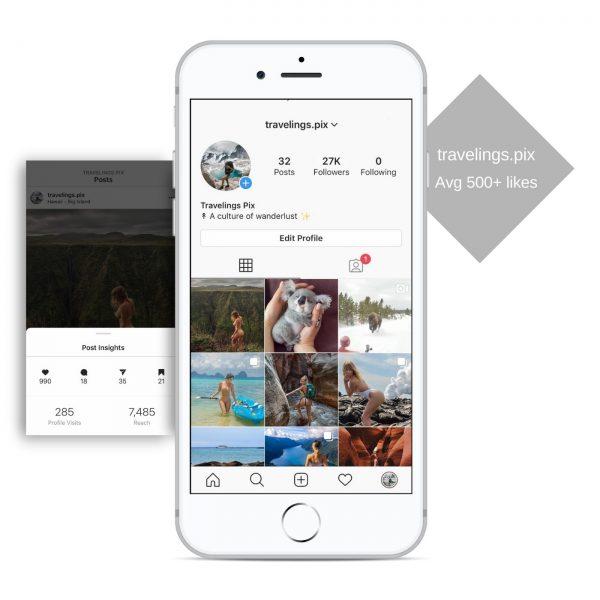 27k travel instagram account for sale