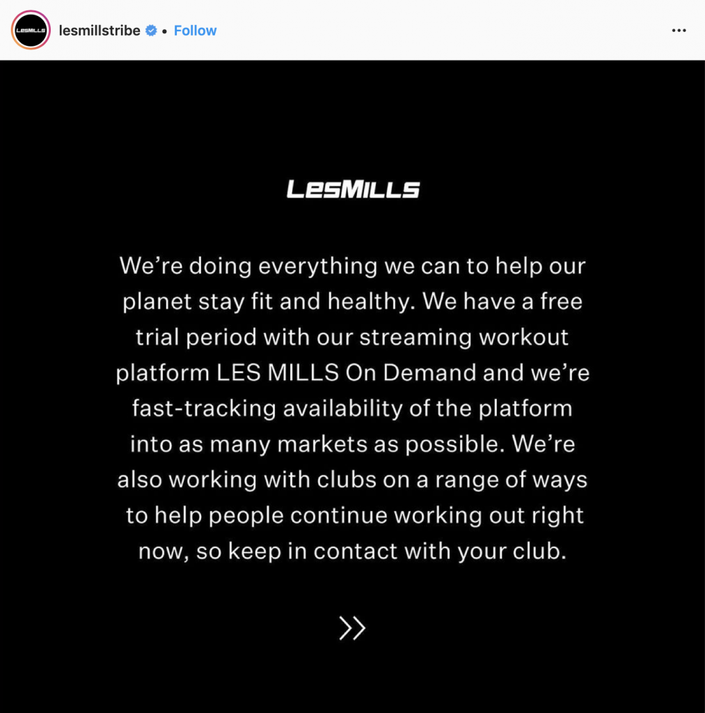 less mills gym response to coronavirus on Instagram