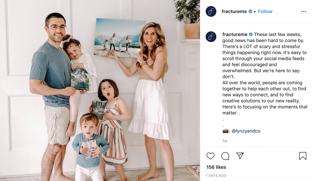 fracture, ecommerce business response to coronavirus on Instagram