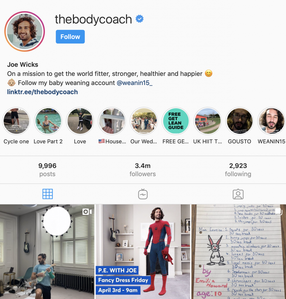 The body coach, fitness trainer response to coronavirus on Instagram